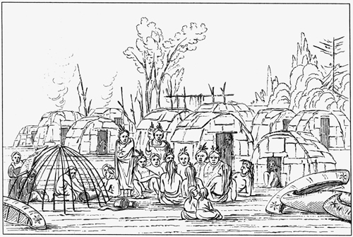 An engraving based on a painting by George Catlin of an Ojibwe camp at Coldwater Spring, in 1835. That year, as in previous years, 500 Ojibwe came to the site to trade, dance, and meet ceremonially with their hosts, the Dakota.