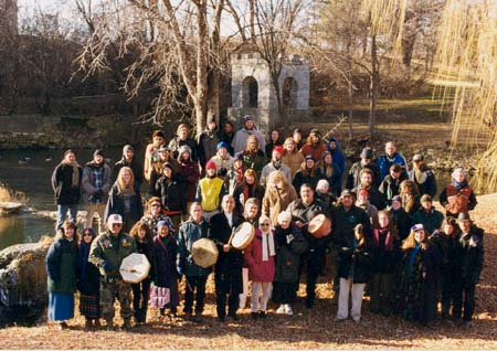 Supporters of Camp Coldwater preservation gathered at Coldwater Spring in December 1999. Dick Bancroft photo.