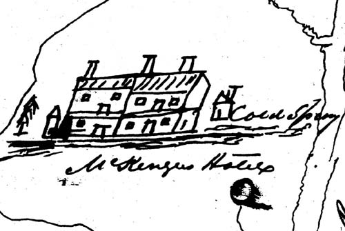 A crude drawing by Indian agent Lawrence Taliaferro showing Coldwater Spring and the Baker House as it looked in 1852 when it had become a hotel owned by Kenneth McKenzie