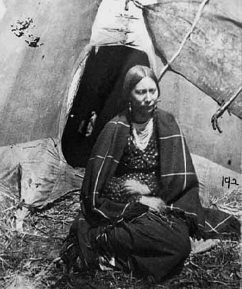 A Dakota woman held captive at the Fort Snelling concentration camp during the witner of 1862-63. The events of that time led to several decades of conflict between Dakota peoples and the U.S. government, during which time the experience and vision of Tail Feather Woman took place.