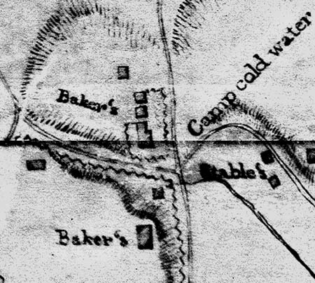 At the bottom of the image, the Baker house is shown on the bluff above Coldwater Spring, in a detail from the October 1837 map of the Fort Snelling area done by Lt. E. K. Smith