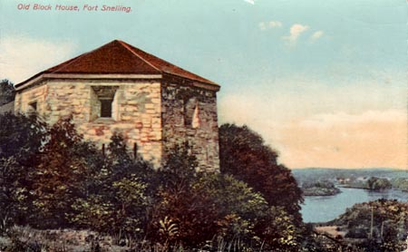 Fort Snelling's Hexagonal Tower, as it looked in the early 1900s when much of Fort Snelling had disappeared around it.