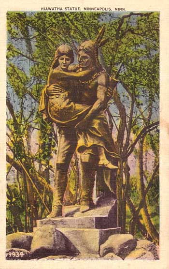 A postcard of the statue of Hiawatha and Minnehaha, dressed only in tropes, from Minnehaha Park, around 1910.