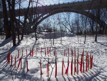 Markers for the 38 Dakota hanged in 1862, at Fort Snelling State Park, near the location of the concentration camp.