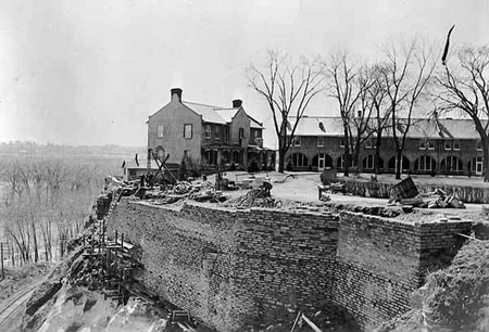 Historic Fort Snelling looking east from the Fort Snelling Bridge, in 1939, when the Works Progress Administration was engaged in a project to restore some of the stone work on the fort.